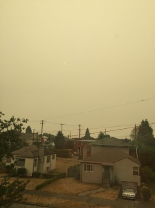 wildfire smoke obscuring skies over houses with yellow tinge