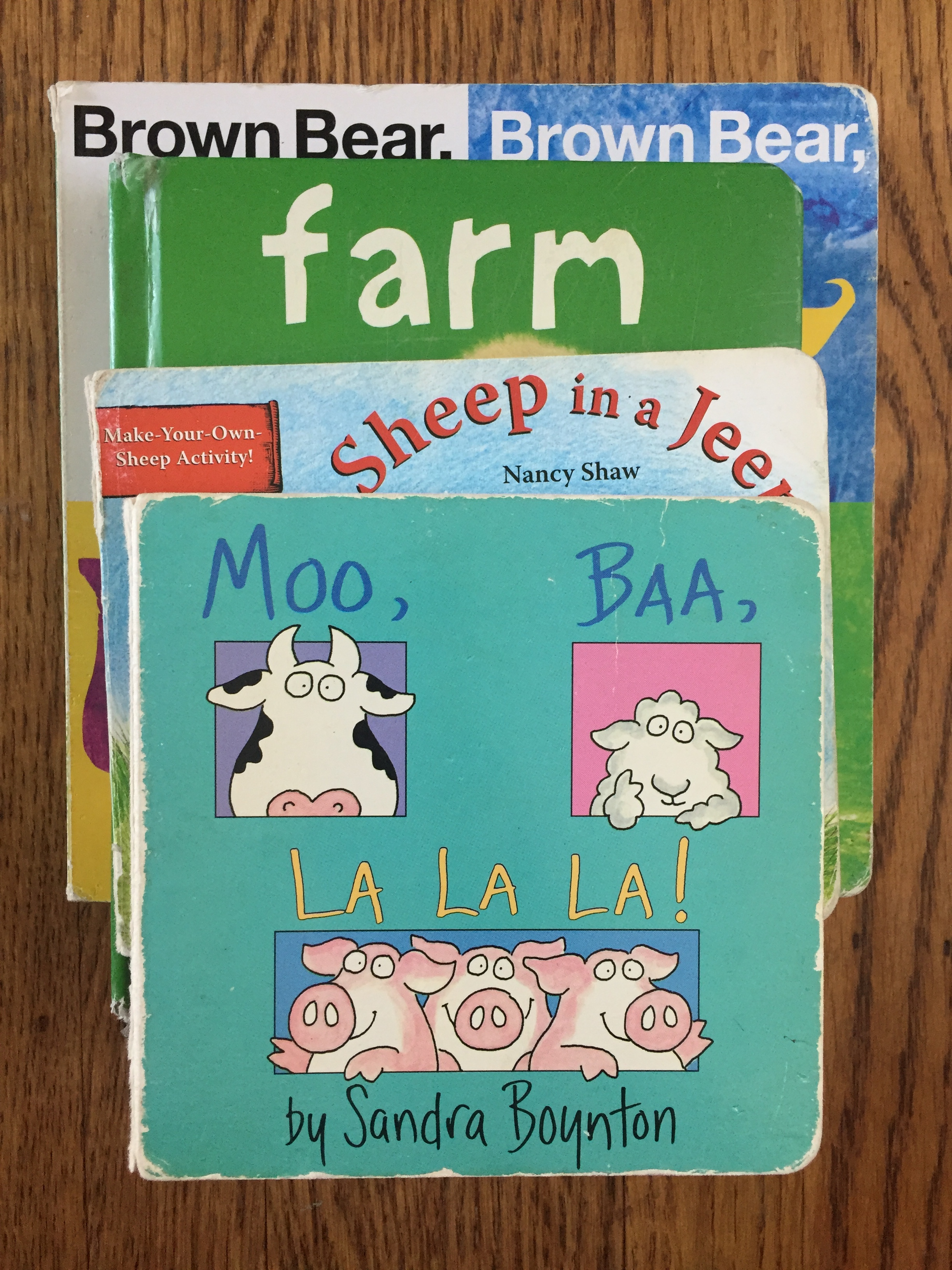 best board books for toddlers Moo Baa La La La Sandra Boynton Sheep in a Jeep Nancy Shaw Bright Baby Books Farm Animals