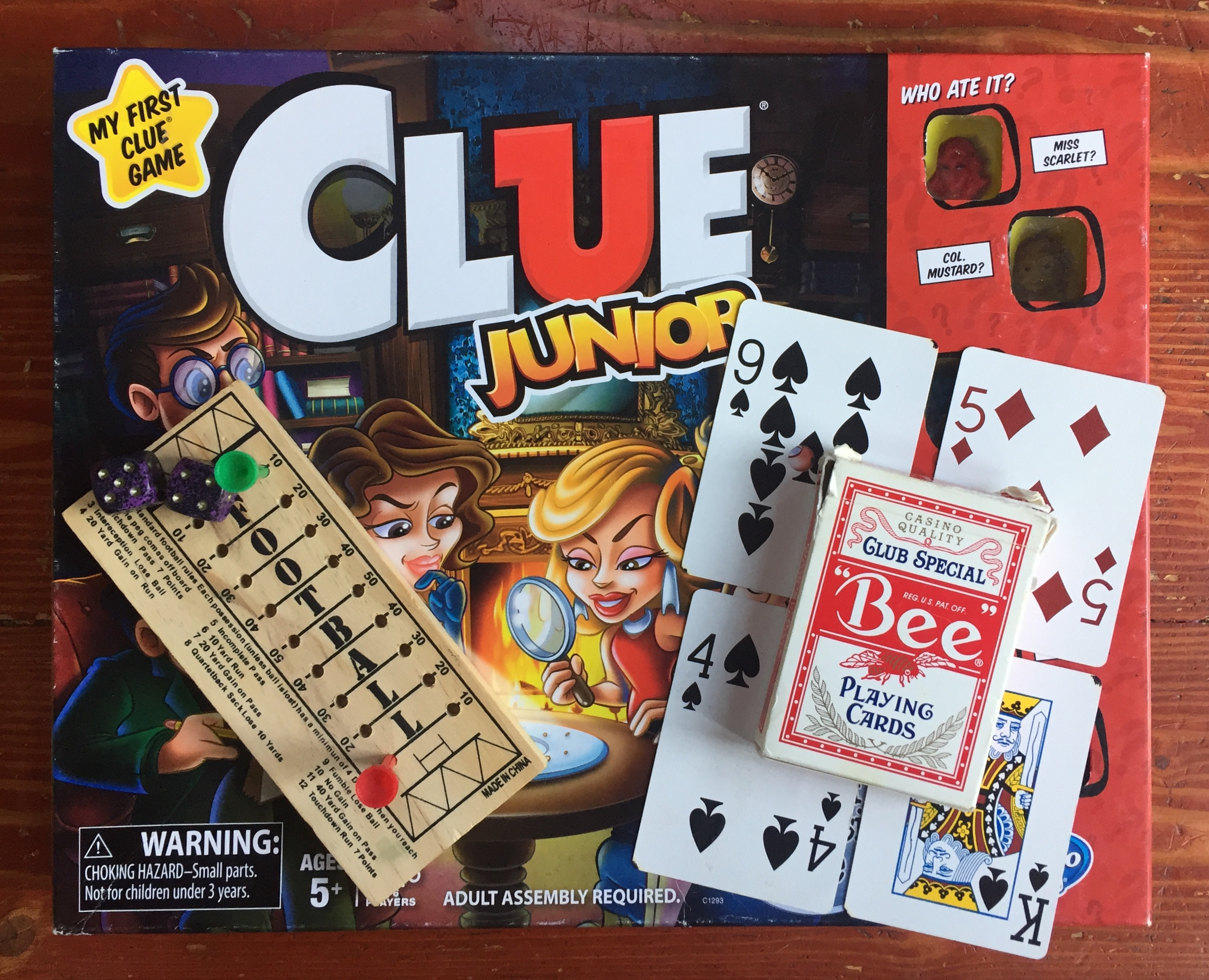 Clue Junior board game for kids, football peg game, deck of playing cards fo Nifty 50