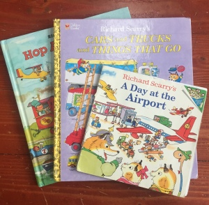 Richard Scarry books A Day at the Airport, Cars and Trucks and Things that Go, The Big Book of Things That Go