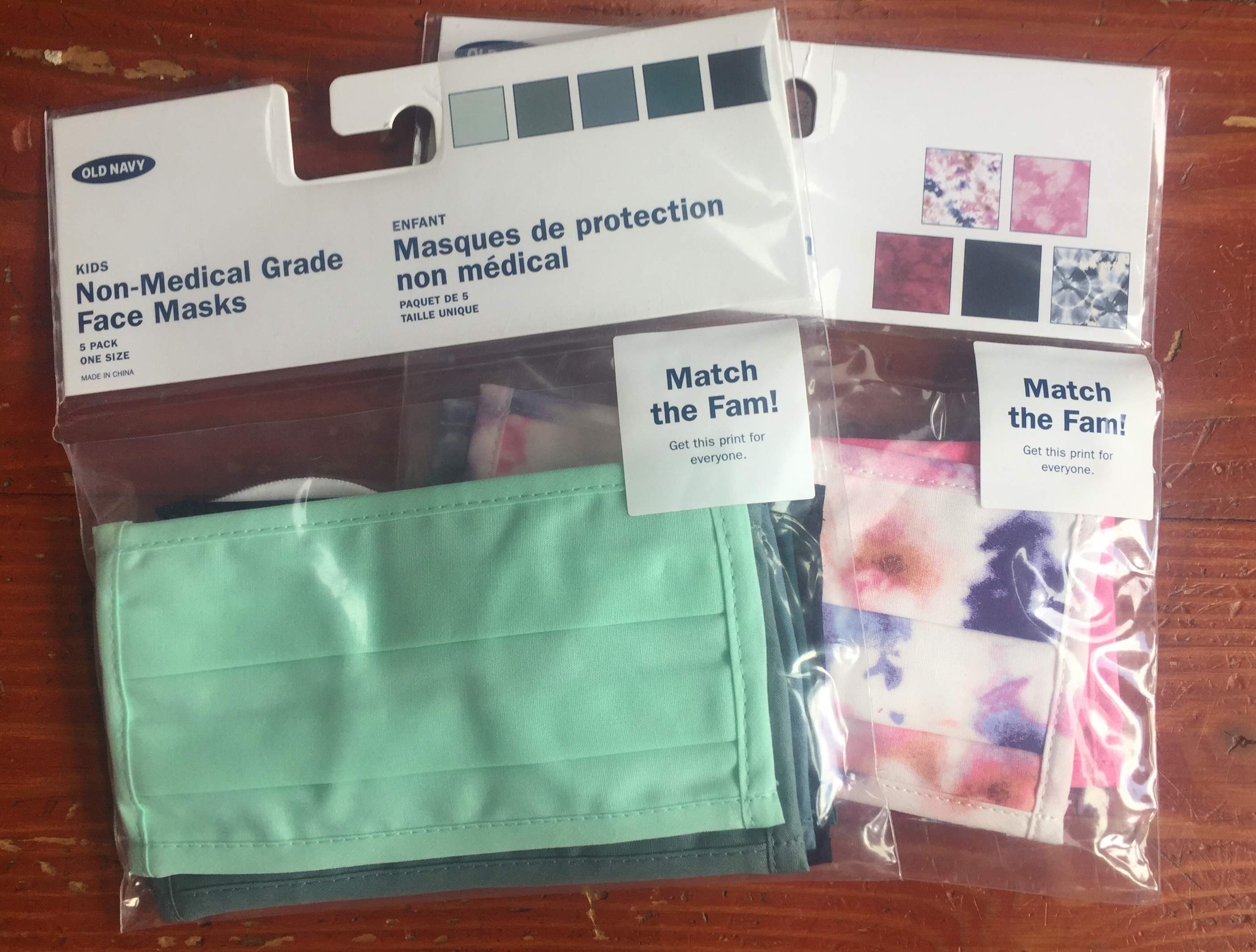 Old Navy non-medical grade three layer face masks for kids five pack