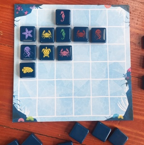 Aqualin 36 square game board with plastic tile printed with sea creatures