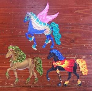 Paper doll horses dressed up from The Marvelous Book of Magical Horses by Klutz