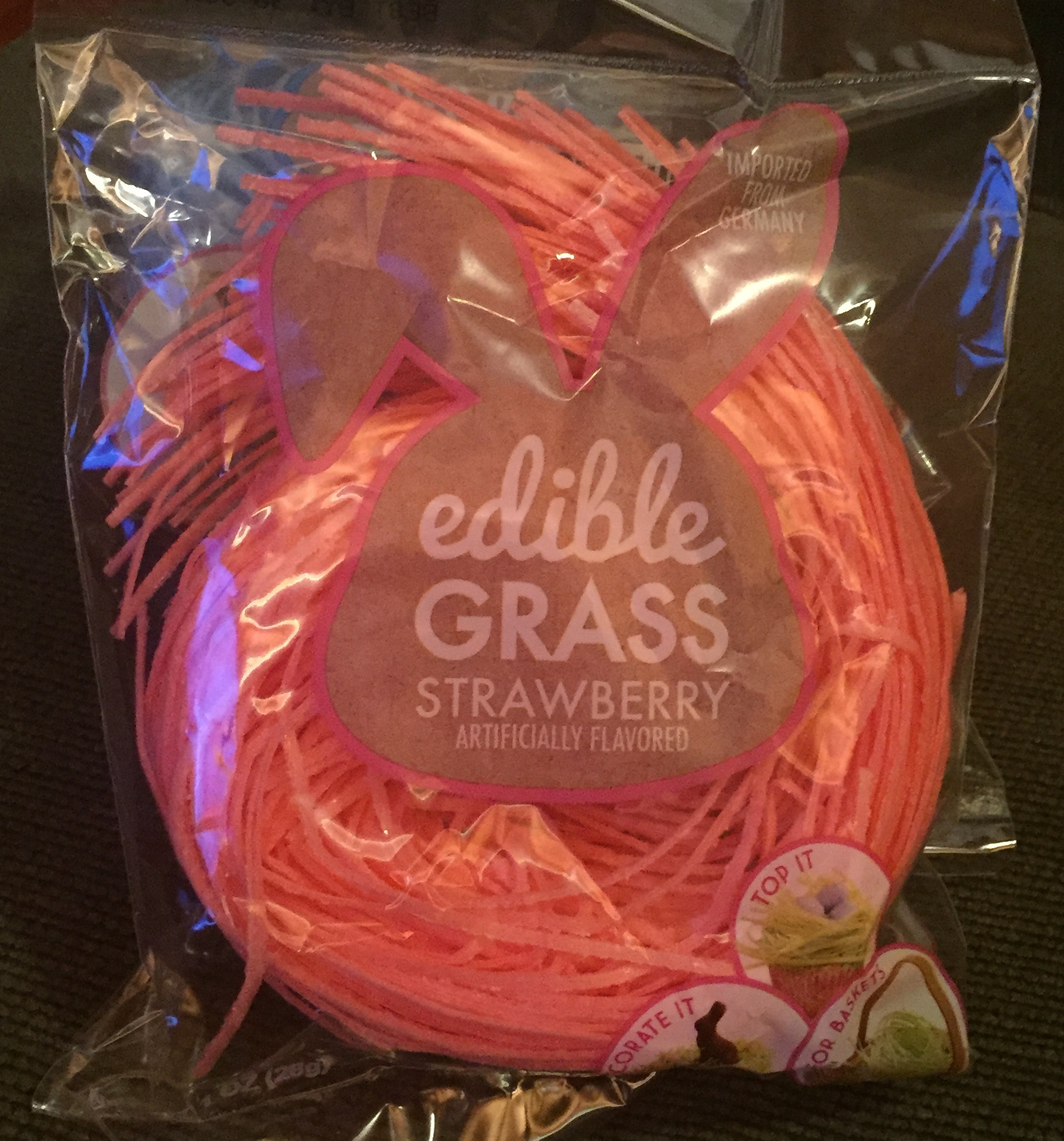 Edible Easter grass pack pink color strawberry flavor