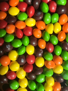 Skittles candin pile rainbow of color