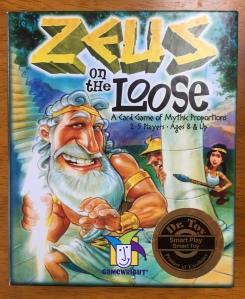 Zeus on the Loose card game for kids box Greek mythology