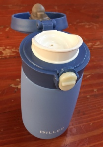 Diller insulated water bottle eight ounce size lid open to show spout and