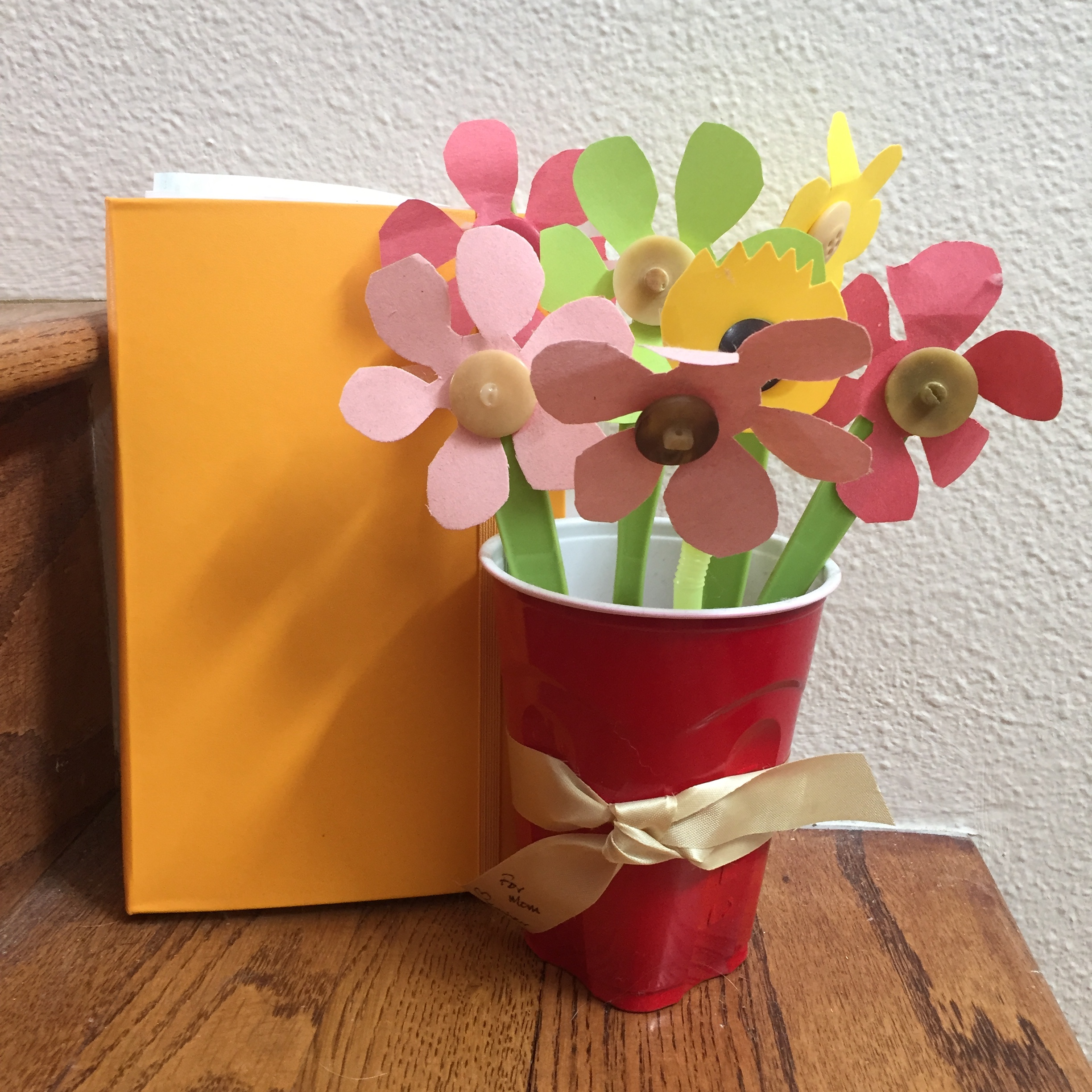 Moleskin journal and handmade flower button bouquet for Mothers' Day