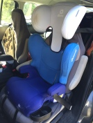 Diono Cambria highback booster seat for older bigger kids installed in bucket seat of Mazda5