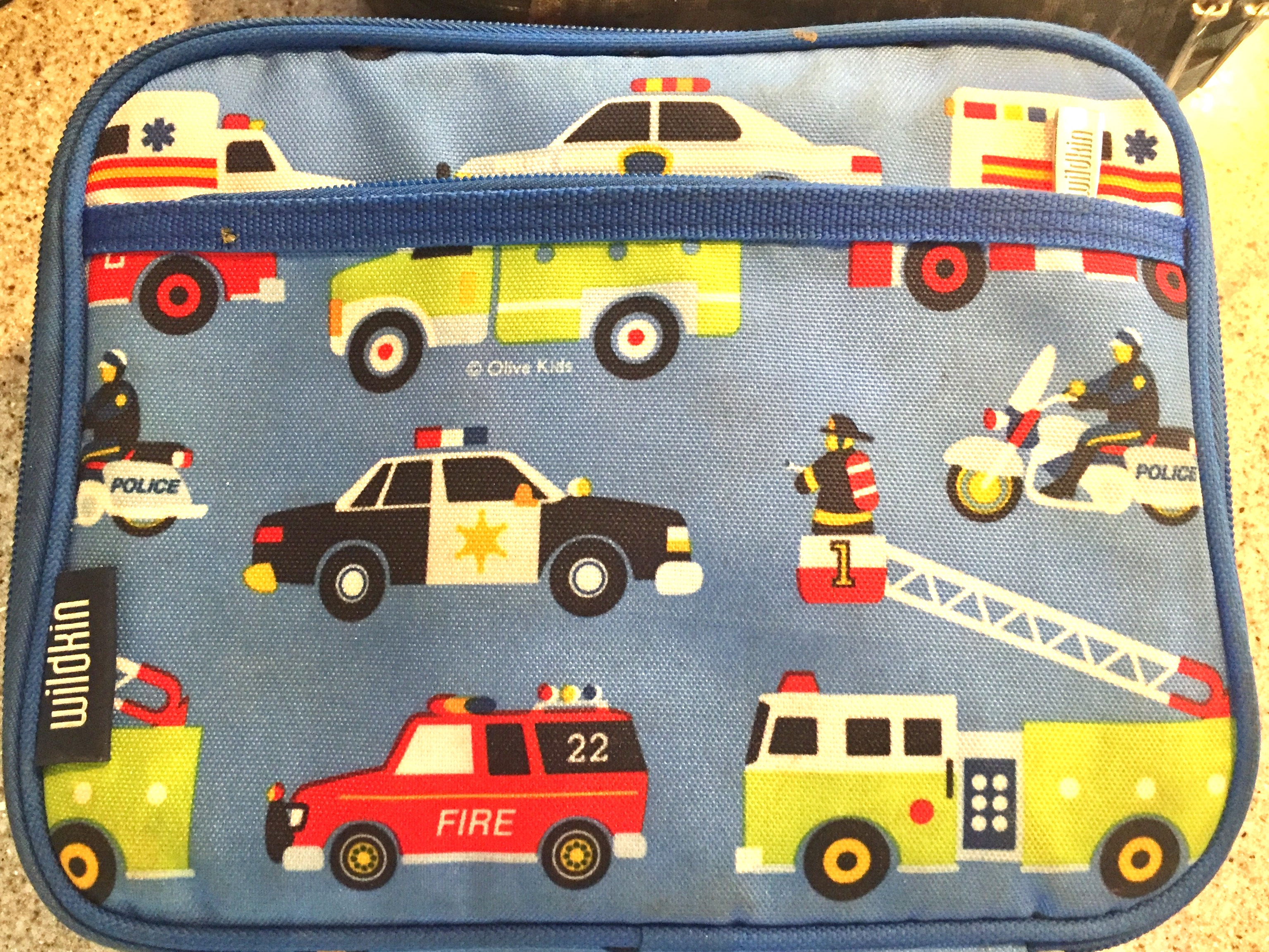 Wildkin insulated lunch box emergency vehicles on blue background