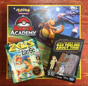 Pokemon Battle Academy box Zeus on the Loose card game for kids I've Got a Bad Feeling About This Star Wars themed card game