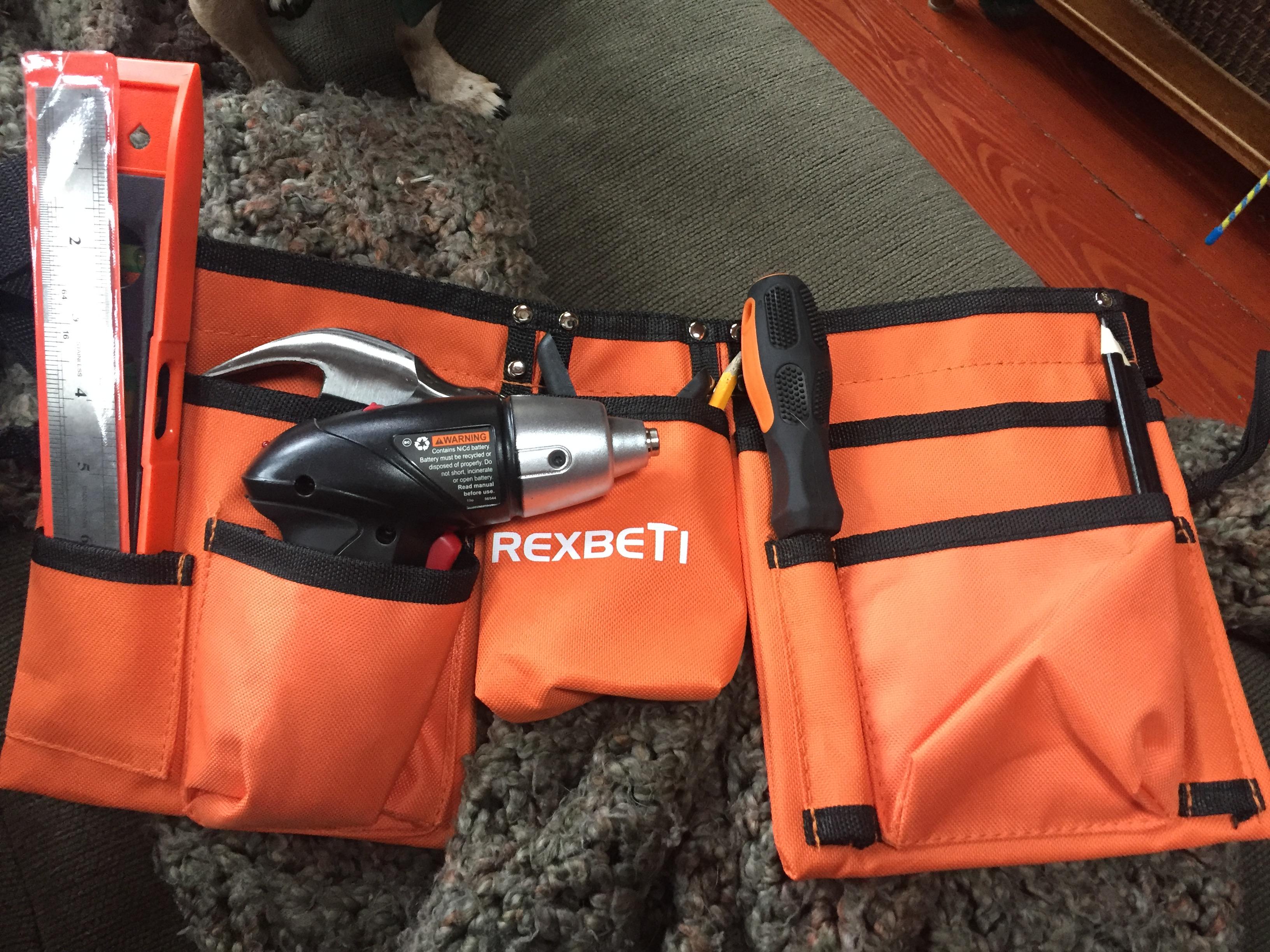 Rexbeti 15 piece kids tool set in orange adjustable tool belt