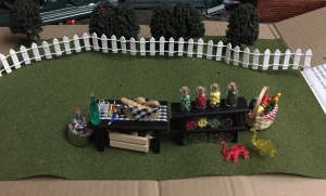 Artminds miniatures produce stand with tables and food