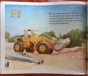The Construction Alphabet book by Jerry Pallotta letter F for forklift page