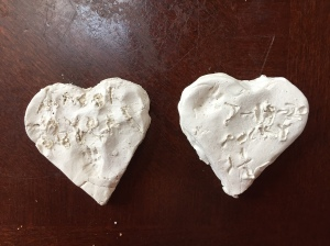 Heart markers made from Crayola air dry clay