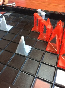 Khet Laser Chess game set up with mirrored pieces