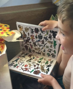 Child opening LEGO Animal Atlas present with