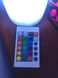 Unicorn Night Light Lamp remote with buttons to control 16 different colors and four different modes as well as