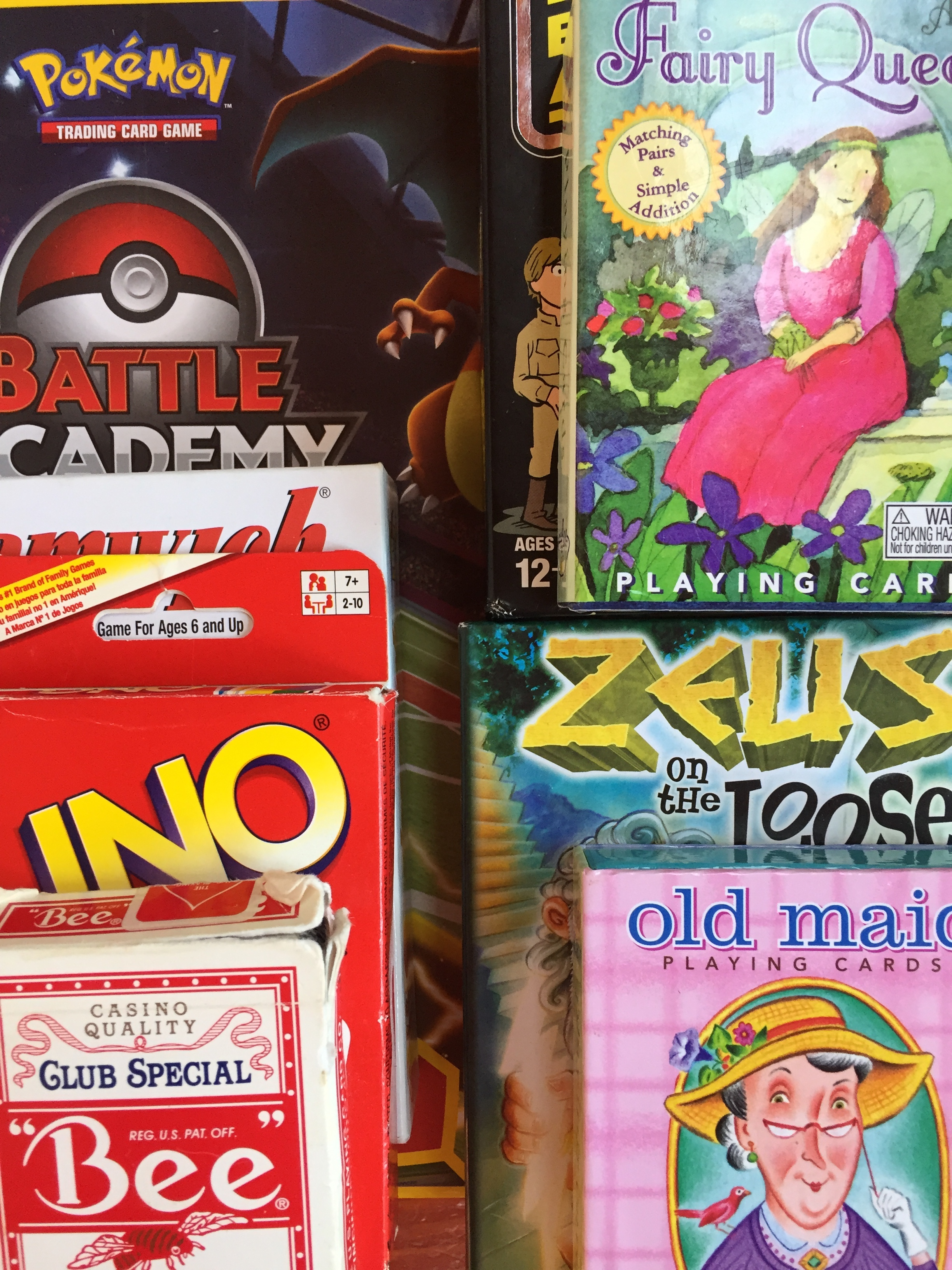 card games for kids Pokemon Fairy Queen Zeus on the Loose Uno Old Maid