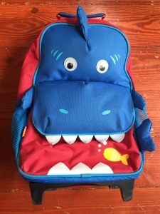 Yodo Kids Rolling Suitcase in Shark print bright blue