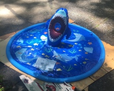 Shark Splash Pad mat for young kids with inflatable shark and sand bags toss