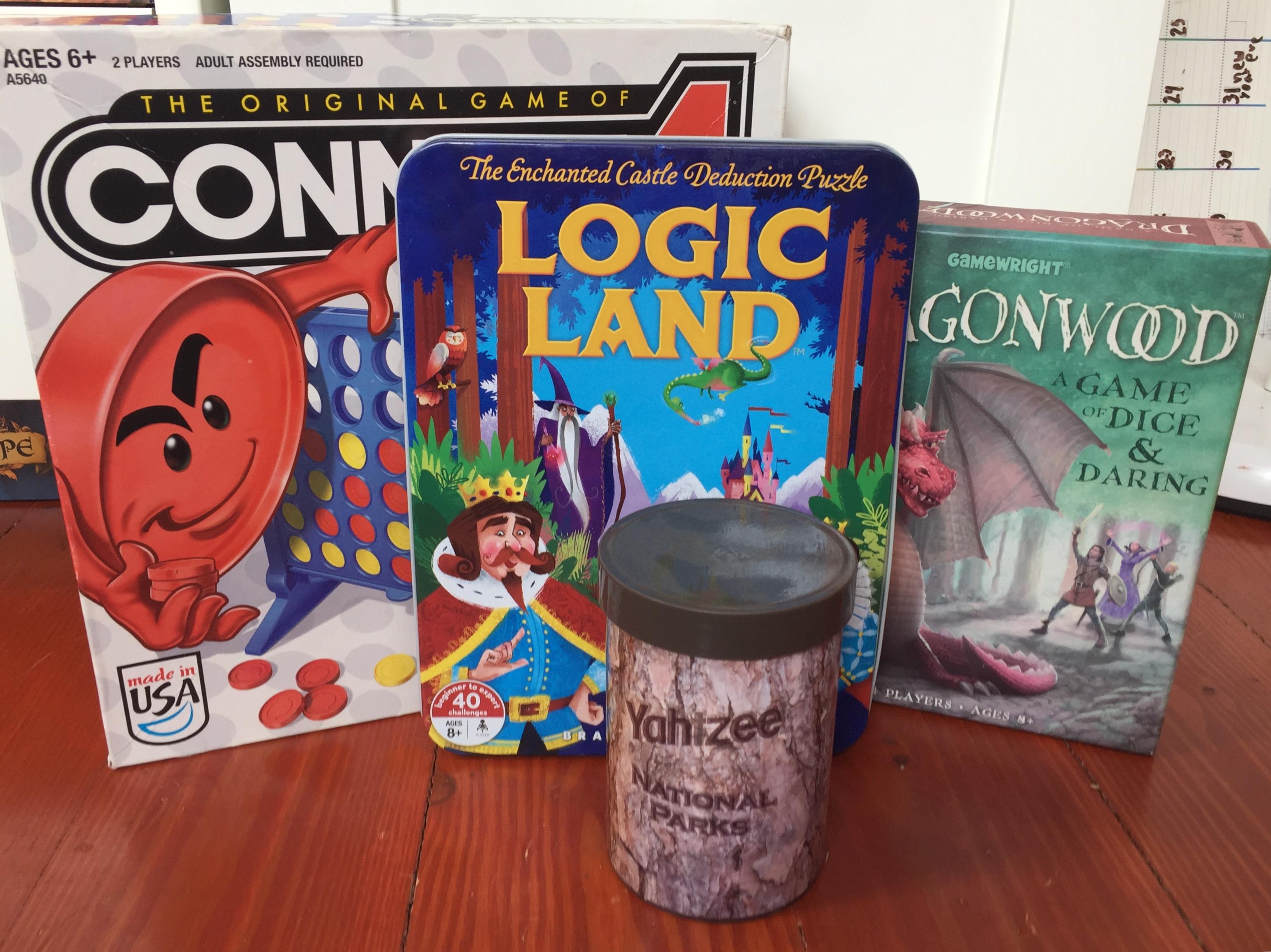 Family games Connect 4 Logic Land Dragonwood Yahtzee