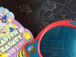On the go art and games for kids chalkboard placemats Mad Libs Easter