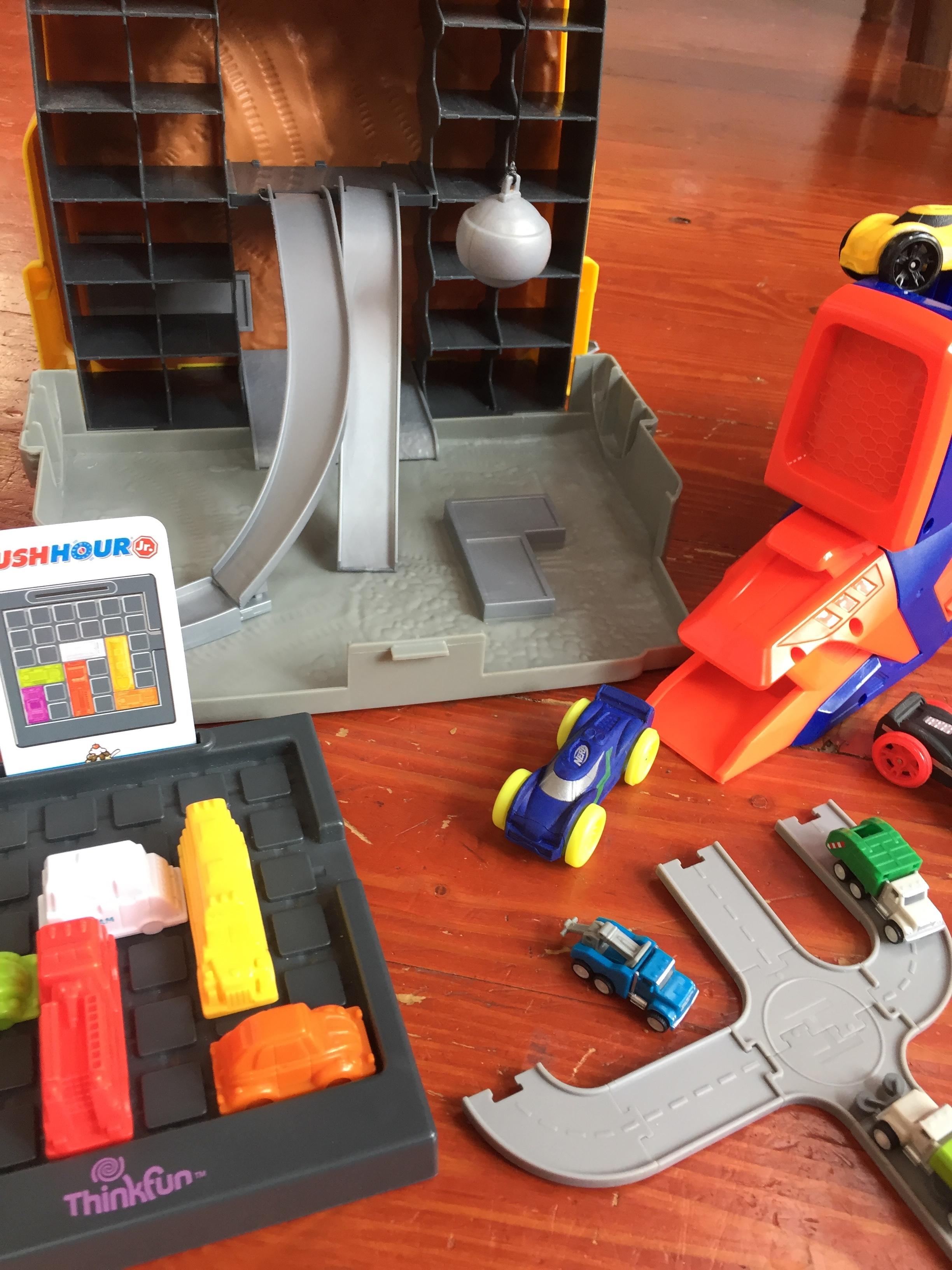 Tonka Tinys Construction play set Rush Hour Jr logic puzzle game Nerf Nitro foam car launcher Driven Pocket Series