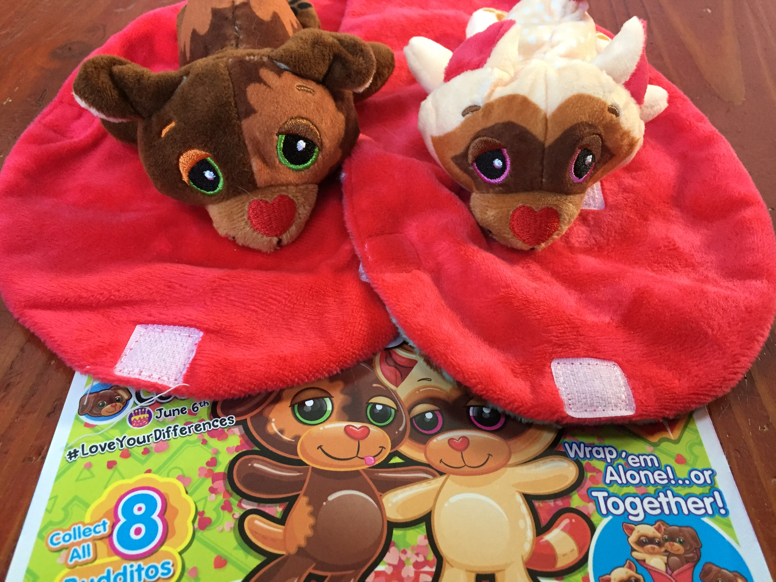 Cutetitos Carnivalitos Budditos chocolate sauce and churros mini stuffed animals side by side with