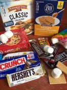 Deluxe s'mores ingredients graham crackers chocolate chip cookies marshmallows Hershey's chocolate bars Nestle Crunch bars