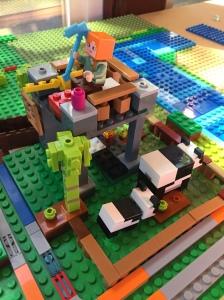 Minecraft Lego Panda Nursery set built on base plate