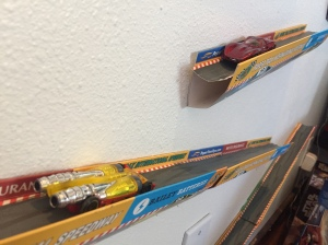 Paper Trax toy vehicle wall mounted race track