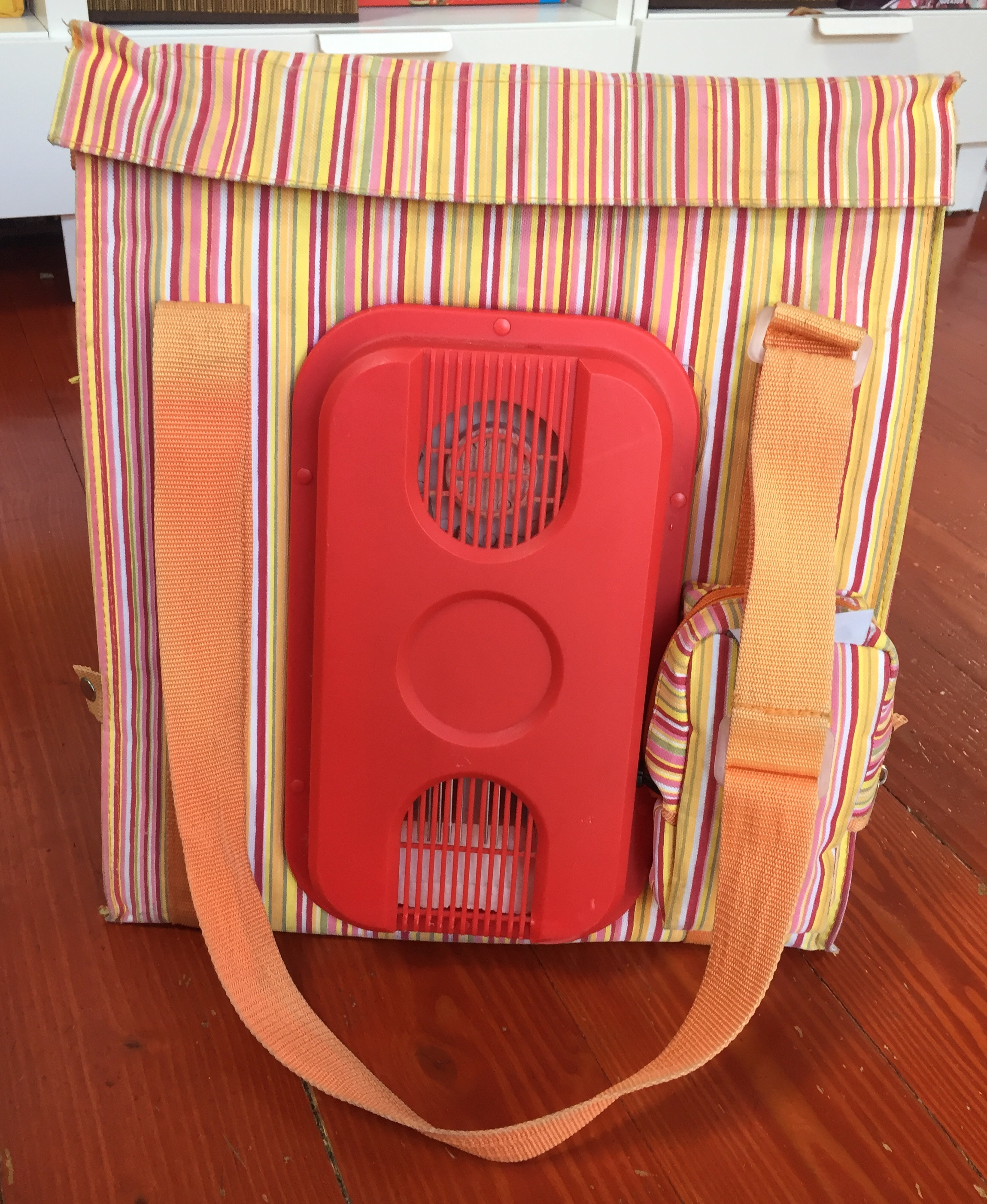 Dometic striped orange and red plug in car cooler bag