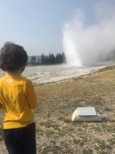 Six year old watching Daisy Geyser erupt at Yellowstone National Park