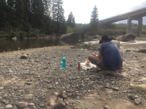 Making dinner on the go in the Lamar Valley of Yellowstone National Park