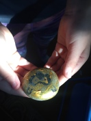 Child holding painted rock made from rock painting kit in hands