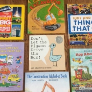 Vehicle picture books for kids Little Big First Big Book of Things That Go, Cars and Trucks and Things That Go, Little Excavator, Don't Let the Pigeon Drive the Bus, The Construction Alphabet Book, Hide and Seek Things That Go, Hop Aboard, Here We Go
